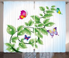 Yeşil Sarmaşık Kelebek Fon Perde Kelebekler