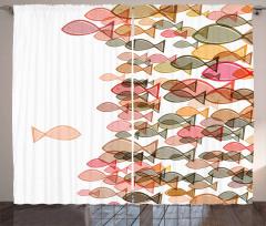 Pembe Balık Desenli Fon Perde Deniz Temalı Şık