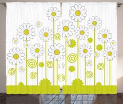 Sarı Papatya Çiçekleri Fon Perde Şık