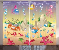 Rengarenk Balık Desenli Fon Perde Bej Şık Tasarım