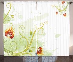 Alevli Sarmaşık Çiçeği Fon Perde Çeyizlik