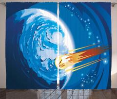 Meteor ve Mavi Dünya Fon Perde Uzay