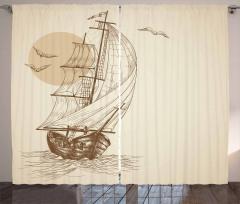 Yelkenli ve Kuş Desenli Fon Perde Bej Şık Tasarım