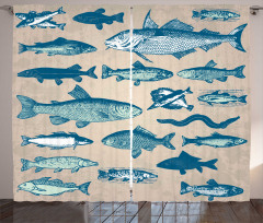 Balık Desenli Fon Perde Bej Mavi Şık Tasarım Trend