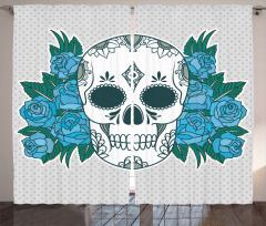 Çiçek Desenli Kuru Kafa Fon Perde Mavi Güller