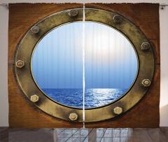 Gemi Kamarası Temalı Fon Perde Kahverengi Mavi