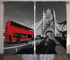 İki Katlı Otobüs Köprü Fon Perde Londra Köprüsü