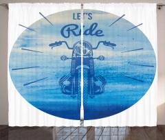 Retro Motosiklet Fon Perde Haydi Sür