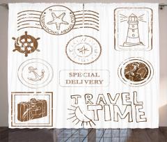 Seyahat Temalı Fon Perde Kahverengi Beyaz Şık