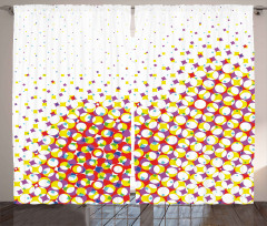 Renkli Geometrik Şekil Fon Perde Şık Retro