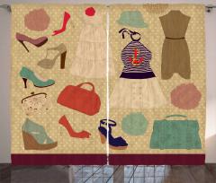 Kadın Kıyafeti Temalı Fon Perde Bej Şık Tasarım