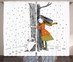 Kız Köpek ve Ağaç Fon Perde Dekoratif Şık