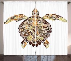 Kaplumbağa Desenli Fon Perde Kahverengi Yeşil Şık