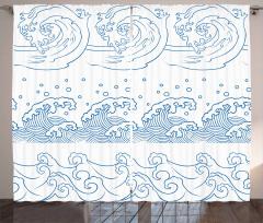 Dalga Desenli Fon Perde Lacivert Beyaz Şık Tasarım