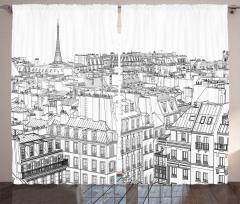 Paris Binaları Desenli Fon Perde Siyah Beyaz Şık
