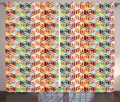 3D Retro Altıgen Fon Perde Geometrik Şık
