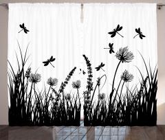 Yusufçuklar ve Çiçekler Fon Perde Siyah Beyaz