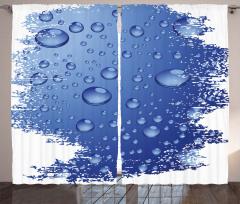 Mavi Yağmur Damlaları Fon Perde Dekoratif