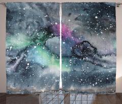 Sulu Boya Galaksi Fon Perde Gri Uzay Şık