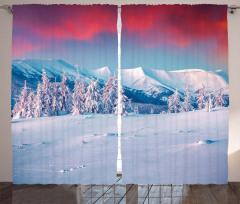 Kırmızı Gökyüzü Karlı Dağlar Fon Perde Dekoratif