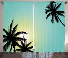 Palmiyeler ve Güneş Fon Perde Siyah Sarı Yeşil