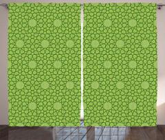 Dekoratif Yıldız Fon Perde Şık Yeşil