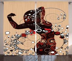 Şık Kadın Desenli Fon Perde Dekoratif Dizayn
