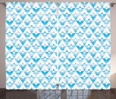 Sulu Boya Üçgen Desenli Fon Perde Geometrik Şık