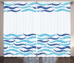 Dekoratif Dalga Desenli Fon Perde Mavi Beyaz Şık