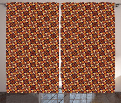 Geometrik Parke Desenli Fon Perde Kahverengi Şık