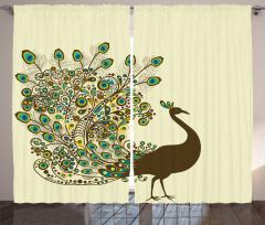 Kabarık Tüylü Tavus Kuşu Fon Perde Dekoratif Bej