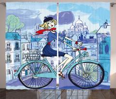 Paris'teki Bisikletli Kız Fon Perde Dekoratif Mavi