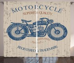 Nostaljik Motosiklet Desenli Fon Perde Lacivert