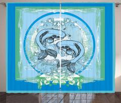 Koi Balığı Desenli Fon Perde Mavi Yeşil Şık