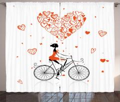 Kalpler ve Bisikletli Kız Fon Perde Kırmızı Beyaz