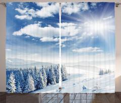 Karlı Orman ve Bulutlar Fon Perde Gökyüzü Doğa