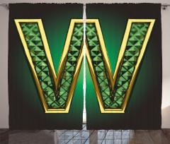 Altın W Desenli Fon Perde Yeşil Harf Şık Trend