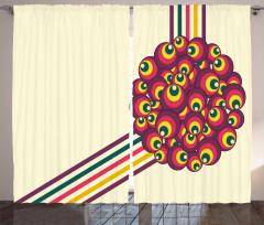 Dekoratif Daireler Desenli Fon Perde Geometrik