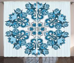 Mavi Etnik Çiçek Desenli Fon Perde Dekoratif