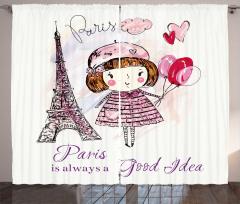 Sevimli Balonlu Kız Fon Perde Pembe Paris Kalp