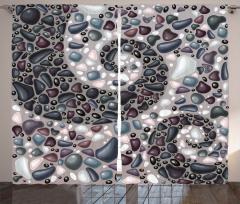 Kumdaki Mozaikler Desenli Fon Perde Gri Dekoratif
