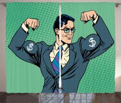 Kaslı Adam ve Dolarlar Fon Perde Yeşil Mavi