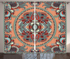 Etnik Çiçek Süslemeli Fon Perde Şık Tasarım