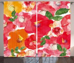 Sulu Boya Çiçekler Fon Perde Kırmızı Turuncu Sarı