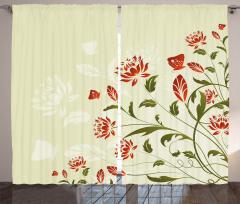 Çiçekler ve Kelebekler Fon Perde Dekoratif Krem