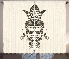 Süslü Kuru Kafa Desenli Fon Perde Siyah Beyaz