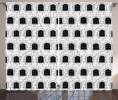 Siyah Beyaz Nostaljik Bina Fon Perde Pencere Şık