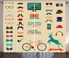 Hipster Temalı Fon Perde Bıyık Gözlük Bisiklet