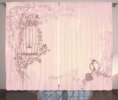 Pembe Kafes ve Kuş Desenli Fon Perde Şık Tasarım