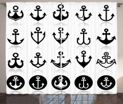 Denizcilik Temalı Fon Perde Siyah Beyaz Trend